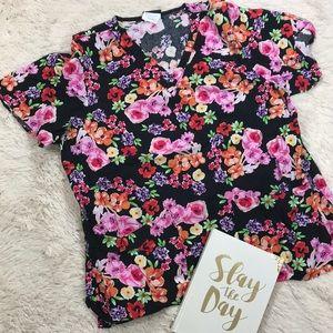 Tafford Black and floral scrub top